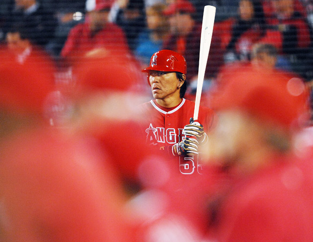 Los Angeles Angels of Anaheim designated hitter Hideki Matsui in the on deck area during a home spring training game against San Diego on April 1. Matsui went 1-3 as the Padres won 5-3.
