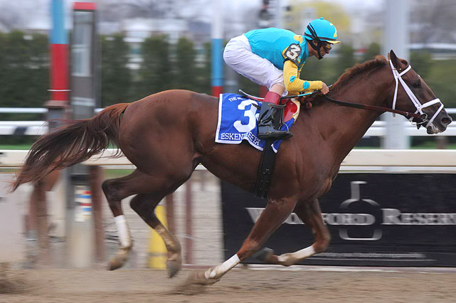 Eskendereya, ridden by John Velazquez, cruises to a victory in the Grade I Wood Memorial on April 3 at Aqueduct in New York.