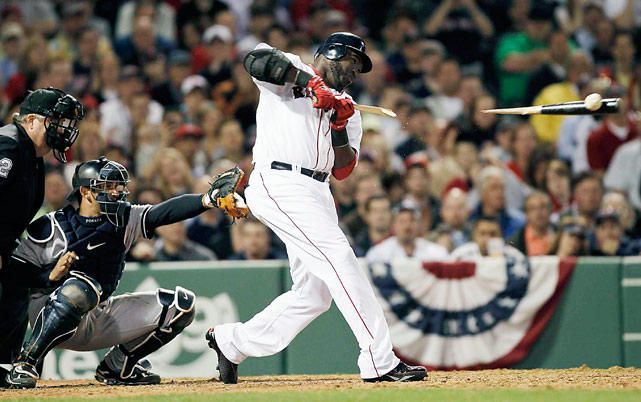 Boston designated hitter David Ortiz breaks his bat during a ground out to second in the opening night game April 4 at Fenway Park in Boston. Ortiz went 0-3 with a walk as the Red Sox won 9-7.