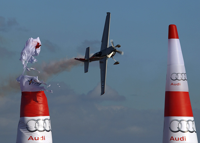 Yoshihide Muroya of Japan hits an air gate during Day Two of training for the Red Bull Air Race in Perth, Australia.