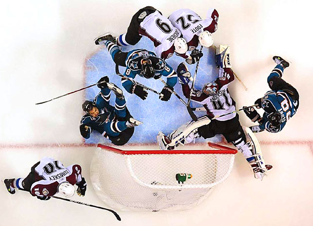 This goal by Devin Setoguchi of the Sharks was disallowed during Game 2 of San Jose's first round playoff series with the Colorado Avalanche. Goaltender Craig Anderson is in net.