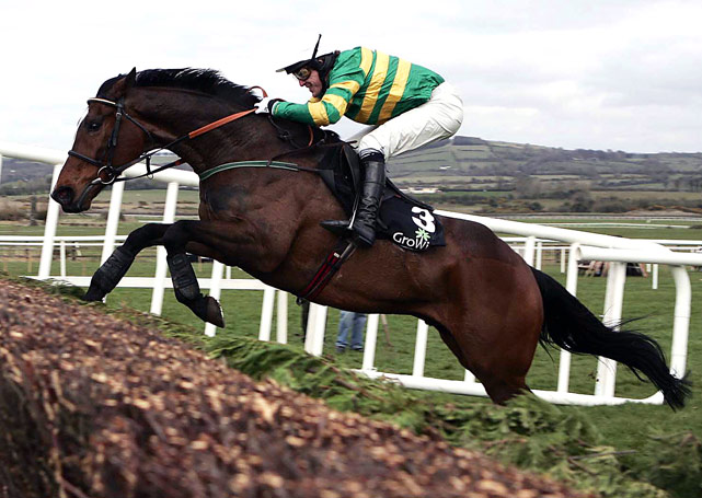Kempes jumps the  last fence  to win the Growise Champion Novice Chase at Punchestown Racecoure on April 20 in Naas, Republic of Ireland.