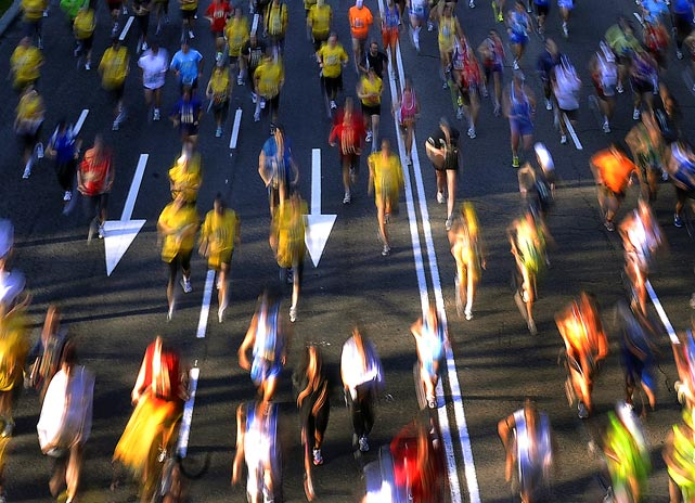 Competitors are a blur as they run the Madrid marathon on April 25 in Spain. Thomson Cherogony of Kenya set a race record in winning with a time of 2 hours, 11 minutes, 27 seconds.