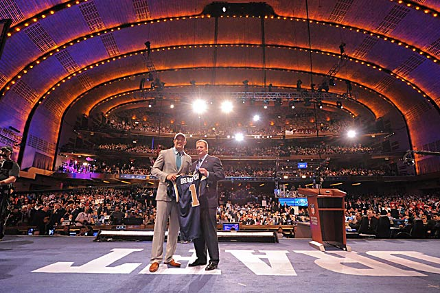 Sam Bradford of Oklahoma stands with NFL Commissioner Roger Goodell after being chosen by the St. Louis Rams with the first overall pick in the 2010 NFL Draft held April 22 at Radio City Music Hall in New York.
