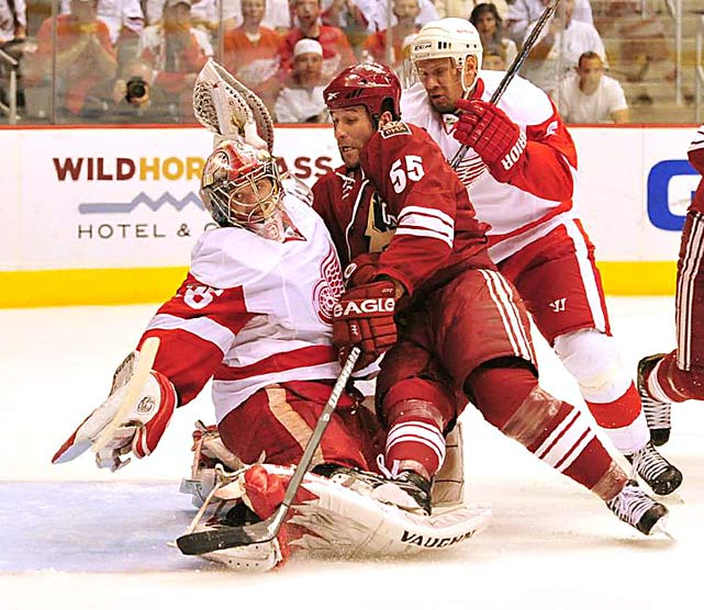 Phoenix Coyotes defenseman Ed Jovanovski is squeezed between Detroit Red Wings goalie Jimmy Howard and defenseman Nicklas Lidstrom during a 4-1 loss on April 23 at Jobing.com Arena in Phoenix.