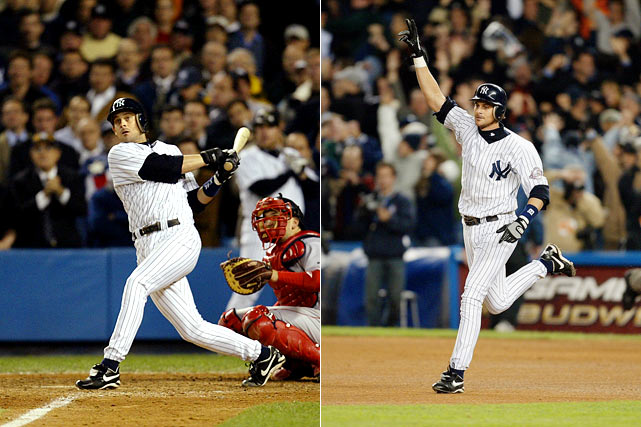 Pedro Martinez couldn't hold leads of 4-0 and 5-2 in Game 7 of the 2003 ALCS, and Boston couldn't score against Mariano Rivera. Enter Aaron Boone, who set off bedlam in the Bronx with a leadoff home run in the 11th inning off Tim Wakefield to give New York a 6-5 victory and its 39th American League pennant.