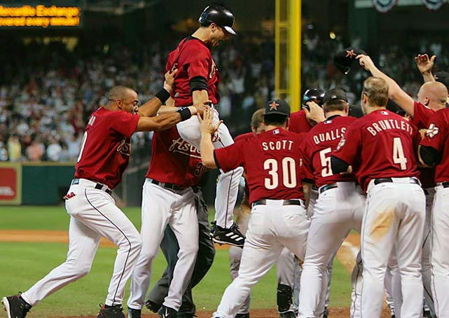 Chris Burke hit one of the most dramatic home runs in postseason history and ended an 18-inning thriller that featured 14 pitchers in Game 4 of the 2005 NLDS. Roger Clemens came out of the bullpen to pitch the last three innings in relief and set up Burke's game-winning shot off of Braves rookie Joey Devine that gave Houston a 7-6 win and clinched the series.