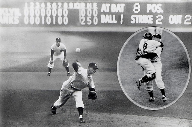The only perfect game in World Series history was thrown by the Yankees' Don Larsen, who went 27 up, 27 down in Game 5 of the 1956 World Series against the Dodgers. The win gave the Yankees a 3-2 Series lead and they would eventually win in seven.