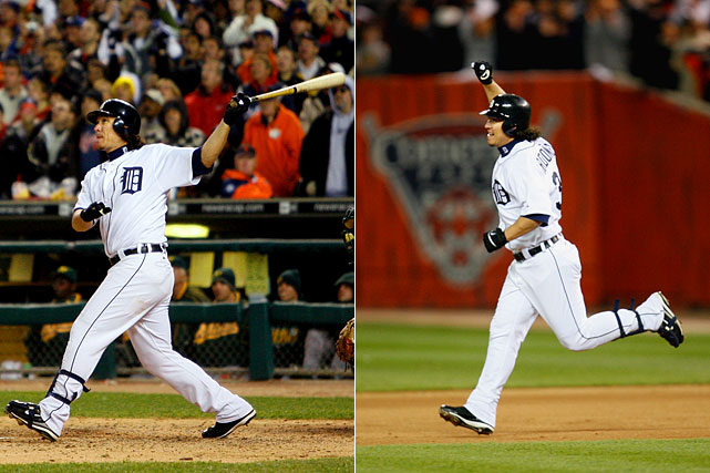 Magglio Ordonez hit a two-out, three-run homer off Huston Street in the bottom of the ninth to give the Tigers a 6-3 win in Game 4 of the 2006 ALCS and a sweep of the Athletics.