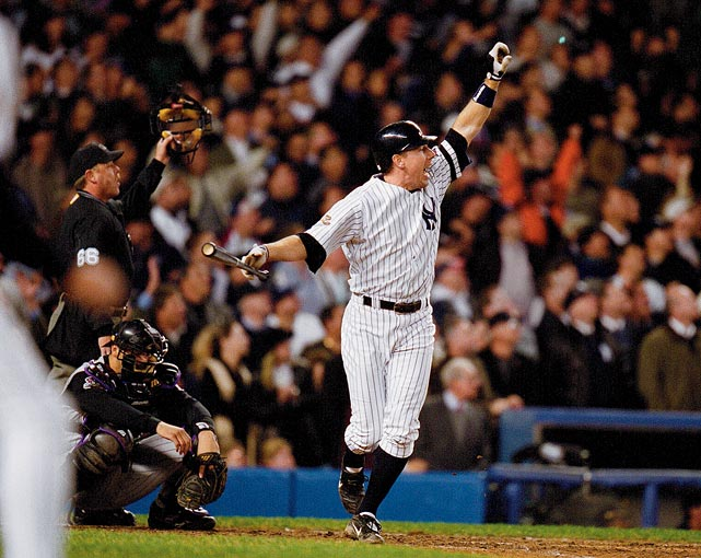 D'backs reliever Byung-Hyun Kim blew his second save in less than 24 hours as Scott Brosius drew the Yankees even at 2-2 in the bottom of the ninth in Game 5 of the 2001 World Series. New York went on to win 3-2 in the 12th, but Arizona won the Series in seven games.