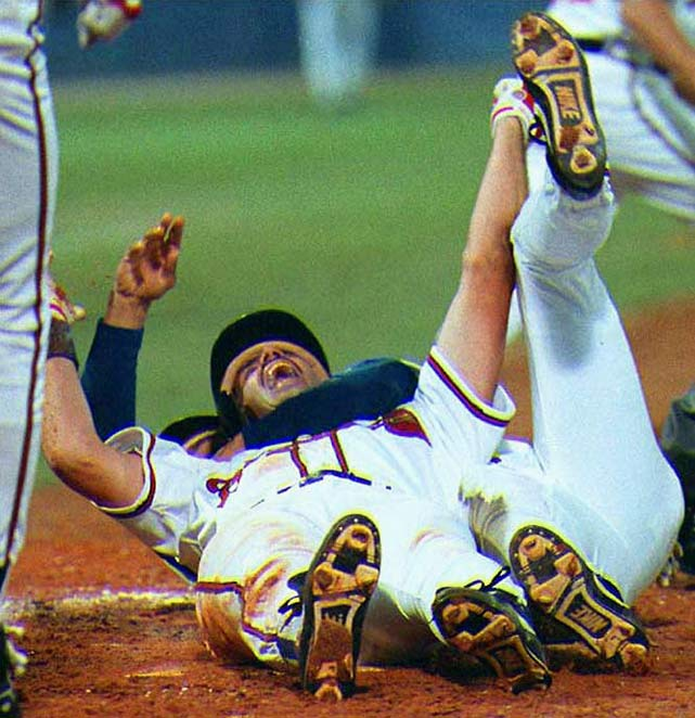 Trailing 2-0 through eight innings of Game 7 of the 1992 NLCS, Atlanta stunned Pittsburgh with a three-run rally. Pinch-hitter Francisco Cabrera won the series with a two-out, two-run single that scored David Justice and Sid Bream, one of the slowest runners in baseball history.