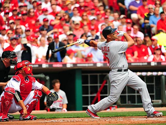 Albert Pujols homers in his first at-bat of the season.