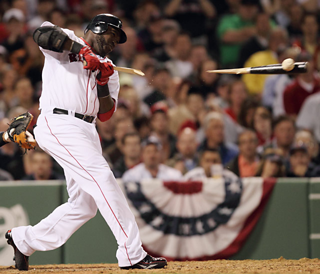 Boston DH David Ortiz breaks his bat during the Red Sox's 9-7 win over the New York Yankees on Opening Night.