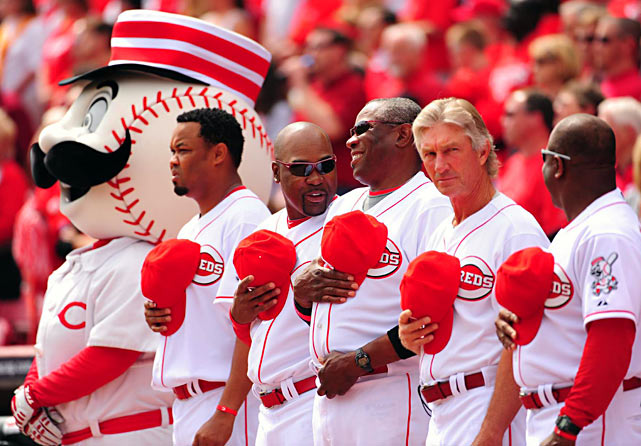Reds Manager Dusty Baker (3rd from right) was in a light-hearted mood as yet another season got underway.