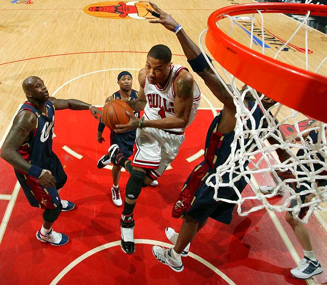 "The Bulls were in desperate need of a victory after falling in a 0-2 hole to LeBron and the Cavs. Rose provided the lift in the third game, pouring in 31 points and dishing out seven assists as the Bulls held off a late surge from Cleveland for a 108-106 win. Chicago fans chanted ""MVP! MVP!"" as the second-year standout led the Bulls to victory."