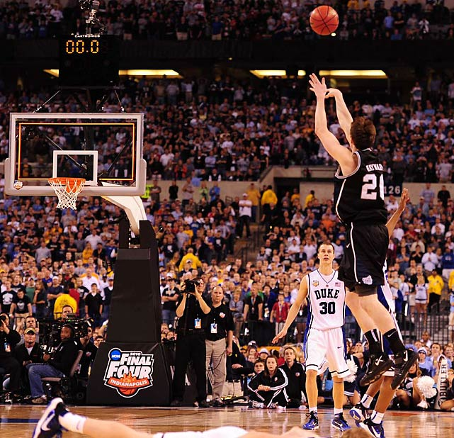 Gordon Hayward's half-court heave at the buzzer drew iron, but missed. It was Butler's final shot at pulling off the upset.