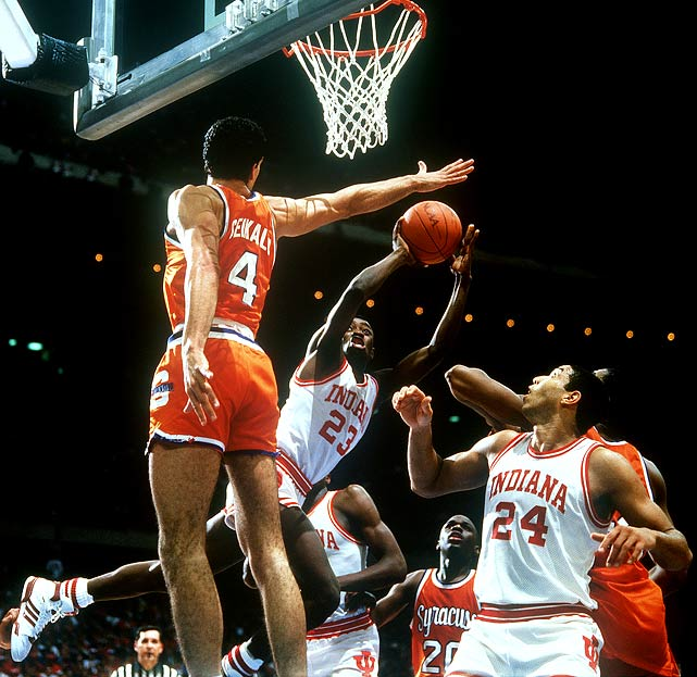 Billed as Bob Knight vs. Jim Boeheim, the 1987 NCAA title game came down to the final moments. Keith Smart's fading jumper with fewer than five seconds to play sealed Indiana's fifth national title. Smart scored 17 points in the second half, while sharpshooter Steve Alford led all scorers, with 23, including seven treys.