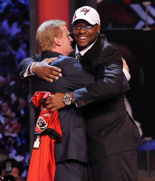 Gerald McCoy gave Goodell a bear hug after being selected No. 3.