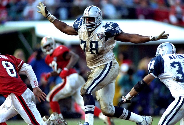 Out of tiny Emporia State, Lett burst into the Cowboys' starting lineup in 1994 and made the first of his two Pro Bowl appearances that season. One of the most dominant defensive tackles of his time, Lett was a member of three Cowboys Super Bowl championship teams, starting in Super Bowls XXVIII and XXX. Lett's off-the-field indiscretions and questionable plays (getting the ball swiped out of his hands in the Super Bowl and knocking the ball out of the back of the end zone against the Dolphins on Thanksgiving) sometimes tarnish his image, but he was a force in his 11-year career.
