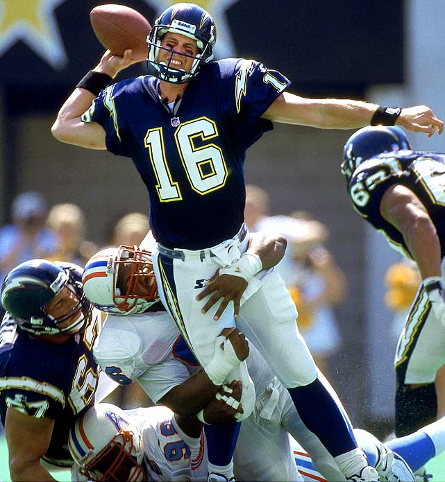 """The one-time Washington State star redefined the term """"bust"""" in his brief NFL career. He wasn't a No. 1 overall -- the Colts chose Peyton Manning -- but his spectacular decline destroyed the Chargers, who traded up with Arizona to select Leaf. In 18 starts, Leaf finished 4-14 with a 48.8 passer rating. His misadventures on the field were relatively pleasant compared to his locker-room tirades. Leaf alienated the media, teammates, water boys ... anyone unlucky enough to get in his path before he retired in 2002."""