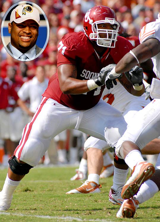 Round 	Pick 	Player 	Position 	School  1 	4 (4) 	Trent Williams (pictured) 	T 	Oklahoma 4 	5 (103) 	Perry Riley 	OLB 	LSU 6 	5 (174) 	Dennis Morris 	TE 	Louisiana Tech 7 	12 (219) 	Terrence Austin 	WR 	 UCLA 7 	22 (229) 	Erik Cook 	C 	New Mexico 7 	24 (231) 	Selvish Capers 	T 	West Virginia