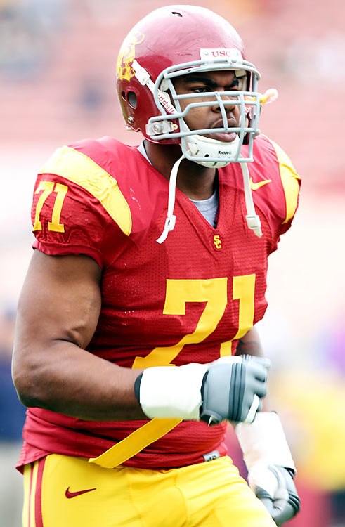 A converted right end, Brown fit in right away along USC's line. His experience in a pro scheme gives him a leg up on other rookies, but he still needs to bulk up to compete at the next level.