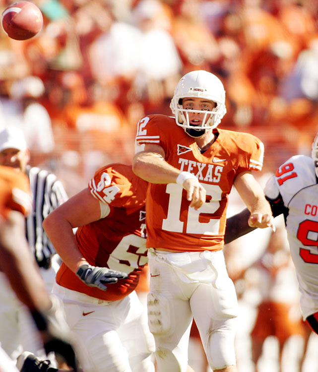 Like Bradford, questions were raised when McCoy hurt his throwing shoulder in the 2010 National Championship game against Alabama. McCoy, who won an NCAA record 45 games while at Texas, answered any doubts about his injury at Texas' pro day when he showed great accuracy on short throws. But concerns about his size and arm strength remain.