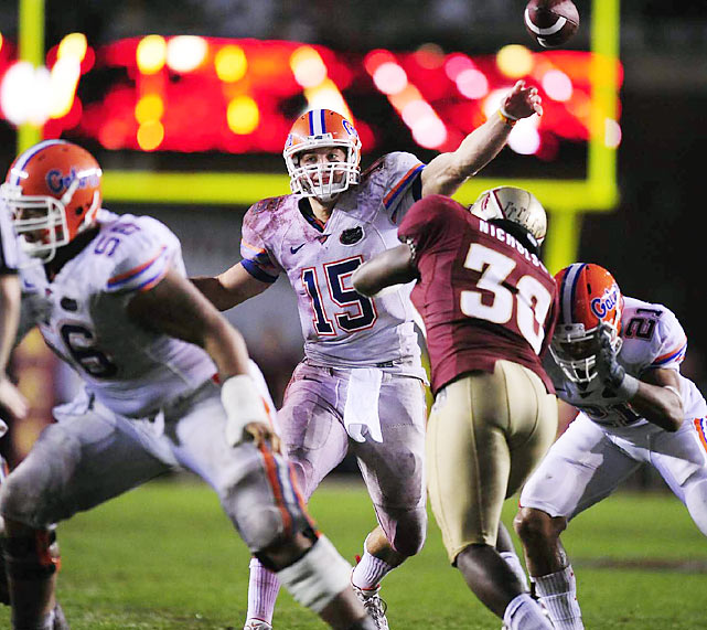 A Heisman Trophy winner and multiple-time NCAA National Champion at Florida, Tebow's intangibles and winning attitude are his strengths. His mechanics and accuracy from the pocket are his shortcomings, but with a re-worked throwing motion Tebow's stock is looking up.