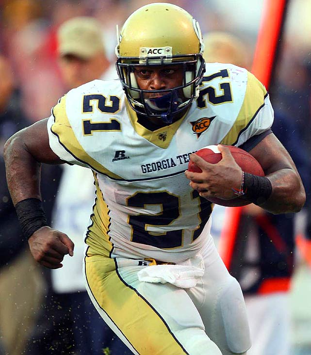 """At Georgia Tech's pro day, Dwyer improved his 40-time to 4.52 after a disappointing time at the combine. Dwyer rushed for nearly 1,400 yards in '09 as Tech's """"B-back,"""" but questions about his hands and his size have threatened his draft stock."""