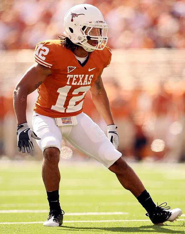 After redshirting in 2007, Thomas put together two impressive seasons at safety for the Longhorns, including a sophomore season that included 8 interceptions. Thomas is a ballhawk and has great natural instincts on the field. His tackling, agility and intensity make him a lock for a first-round pick, with the added bonus of above average smarts.