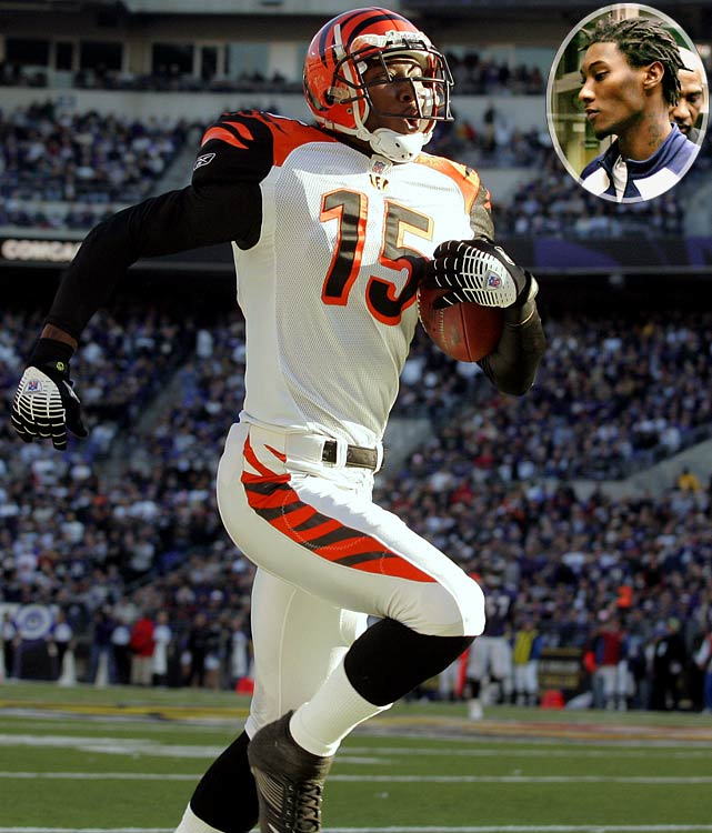 Arrested four times in three states after being drafted in 2005 on charges that included reckless operation of a car, misdemeanor marijuana possession and a felony gun charge, the Bengals wide receiver was suspended for the first eight games of the 2007 season.