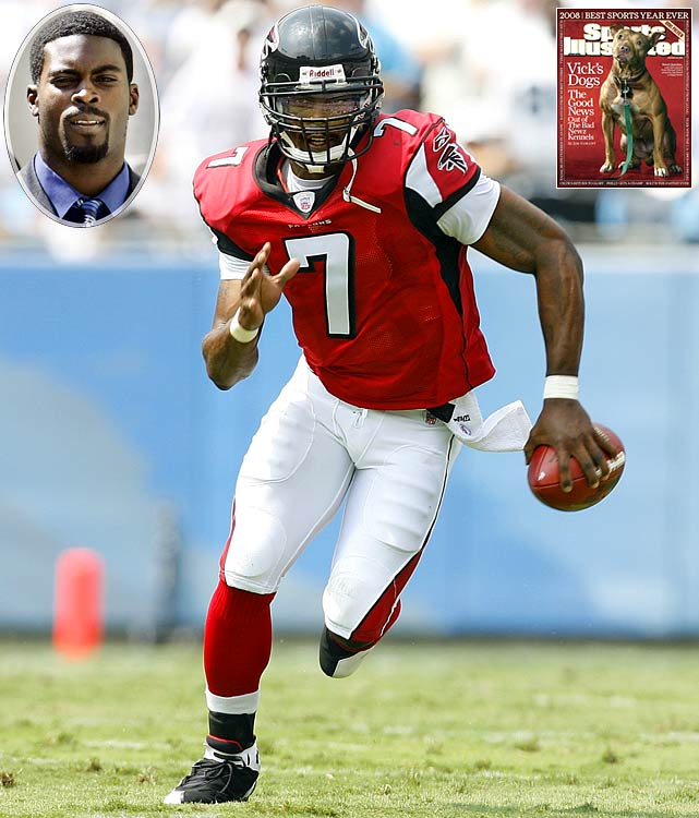 The Falcons quarterback served 21 months in federal prison after pleading guilty to helping run an interstate dog-fighting operation. Vick, who was suspended indefinitely after admitting he fronted money to a gambling operation affiliated with the dog-fighting ring, signed with the Philadelphia Eagles in 2009 and was reinstated for the third game of the season.