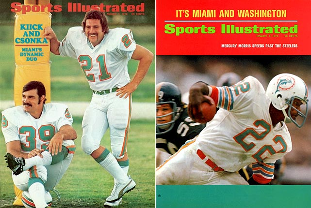 The Dolphins boasted the league's top-ranked offense and top-ranked defense in 1972, helping lead them to the only undefeated season in NFL history. Miami's Larry Csonka and Mercury Morris became the first running back tandem to each rush for 1,000 yards in a season.
