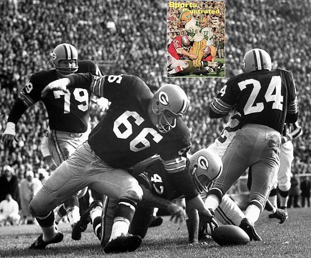 The Pack's defense was dominant in 1962, allowing less than 11 points per game and holding the Eagles to just 54 yards of offense in a regular season meeting. The champions' offense was no slouch either, leading the NFL in points and boasting the league's top passer, Bart Starr, and top rusher, Jim Taylor (inset).