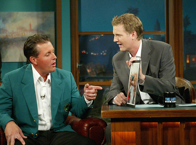 "Mickelson appears on ""The Late Late Show With Craig Kilborn"" after winning the 2004 Masters."