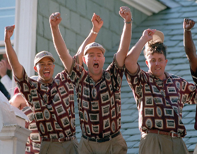 Members of the U.S team celebrate victory over Europe at the Ryder Cup in Brookline, Mass.