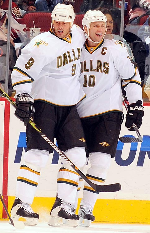 """<b><i>""""We've been to a lot of team dinners and he's never picked up the check, so he should have a lot of money laying aside.""""</b></i> <br><br>Brendan Morrow on Mike Modano possibly buying the Dallas Stars."""
