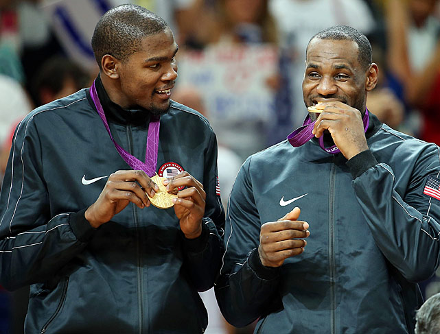Two months after battling in the NBA Finals, James and Kevin Durant teamed up to win an Olympic gold medal.