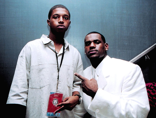 LeBron's younger brother, Frankie, accompanies LeBron at the 2003 NBA draft.