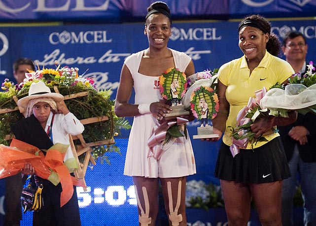 Serena and Venus at the end of their exhibition match at La Macarena bullring in Medellin.