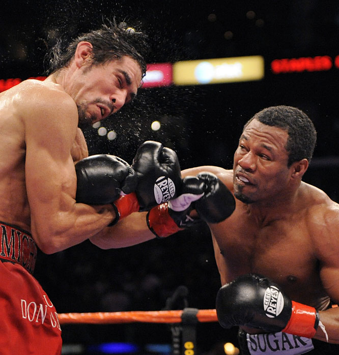 Mosley, 37, was a 4-to-1 underdog as the challenger for Margarito's WBA welterweight title. Many decried the fight as a mismatch, but Mosley turned back the clock and dominated Margarito throughout eight violent rounds before the referee stopped the fight early in the ninth.
