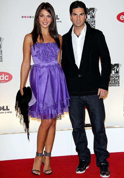 If there's any sport where the wives and girlfriend (WAG) culture takes on a life of its own, then it would be soccer, where the players' other halves often take on a celebrity status that rivals the players themselves.  Actress Lorena Bernal and husband, Spanish player Mikel Arteta (Everton), attend the MTV Europe Music Awards.