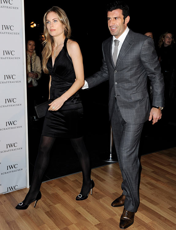 Former Portuguese footballer Luis Figo and wife Helen Svedin attend a private dinner reception in Switzerland.