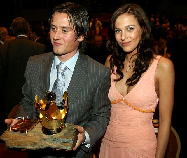 Czech footballer and Arsenal team member Tomas Rosicky poses in '07 with then girlfriend (now wife), model Radka Kocurova, in Prague after receiving the Czech Republic's Player of the Year 2006 award.