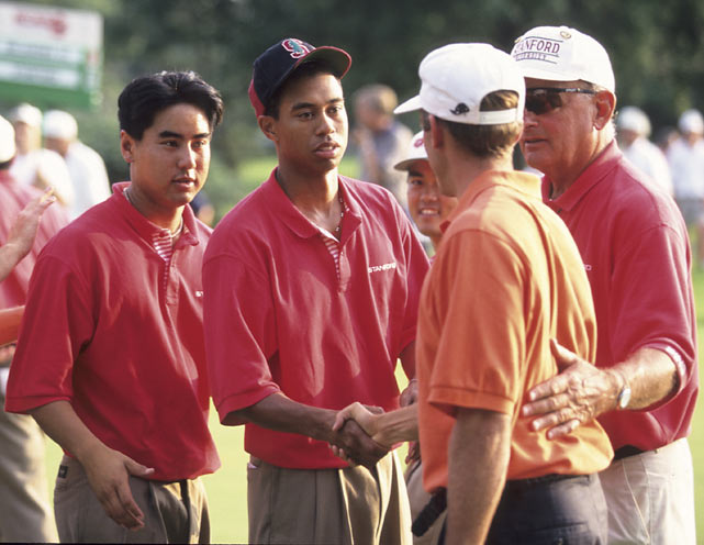 Woods and his Stanford teammate, Jerry Chang, shake hands with an Oklahoma State golfer after a match. Chang remains one of Woods' closest friends.