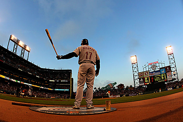 Lance Berkman of the Houston Astros warms up on the on deck circle during an 8-2 win over the Giants at AT&T Park on May 14 in San Francisco.