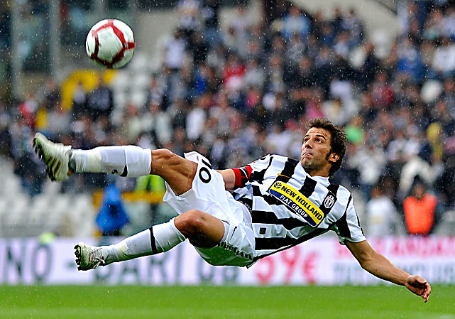 Juventus forward Alessandro Del Piero kicks a ball mid-air during his Serie A football match against Parma on May 9 at the Olympic Stadium in Turin, Italy. Parma defeated Juventus 3-2.