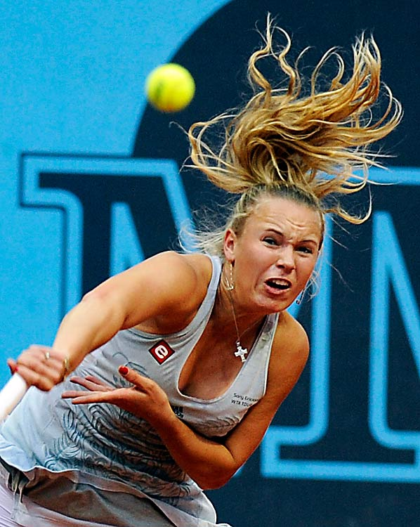 Denmark's Caroline Wozniacki returns to Petra Kvitova of Czechoslovakia during their match at the Madrid Masters on May 10 at the Caja Magic sports complex in Spain. Wozniacki won 6-4, 6-2.