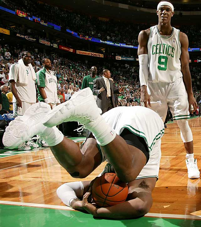 Boston Celtics forward Glen Davis falls during Game 6  of the Eastern Conference semifinals against the Cleveland Cavaliers at TD Garden on May 13 in Boston. The Celtics defeated the Cavaliers 94-85.