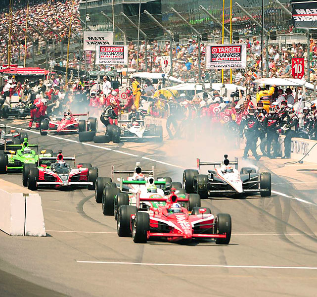 Dario Franchitti (front) took the lead early and was never far off the pace.